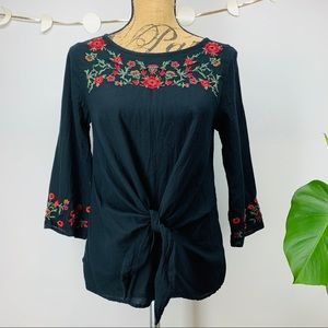 Zara Embroidered Tie Front Top